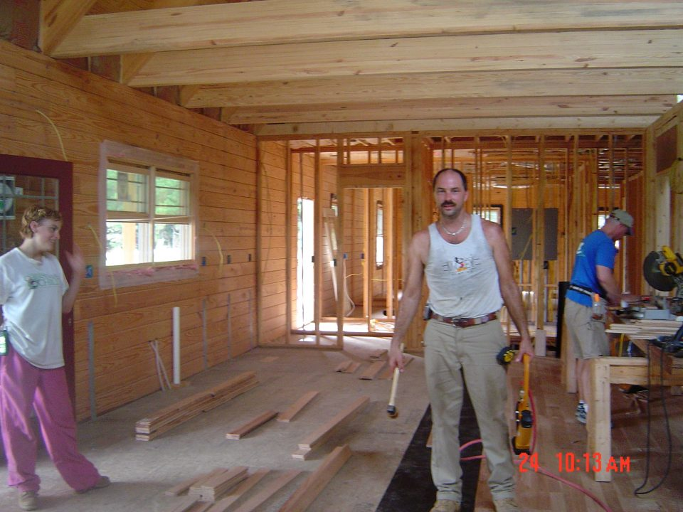 Framing our Log Home in 2004