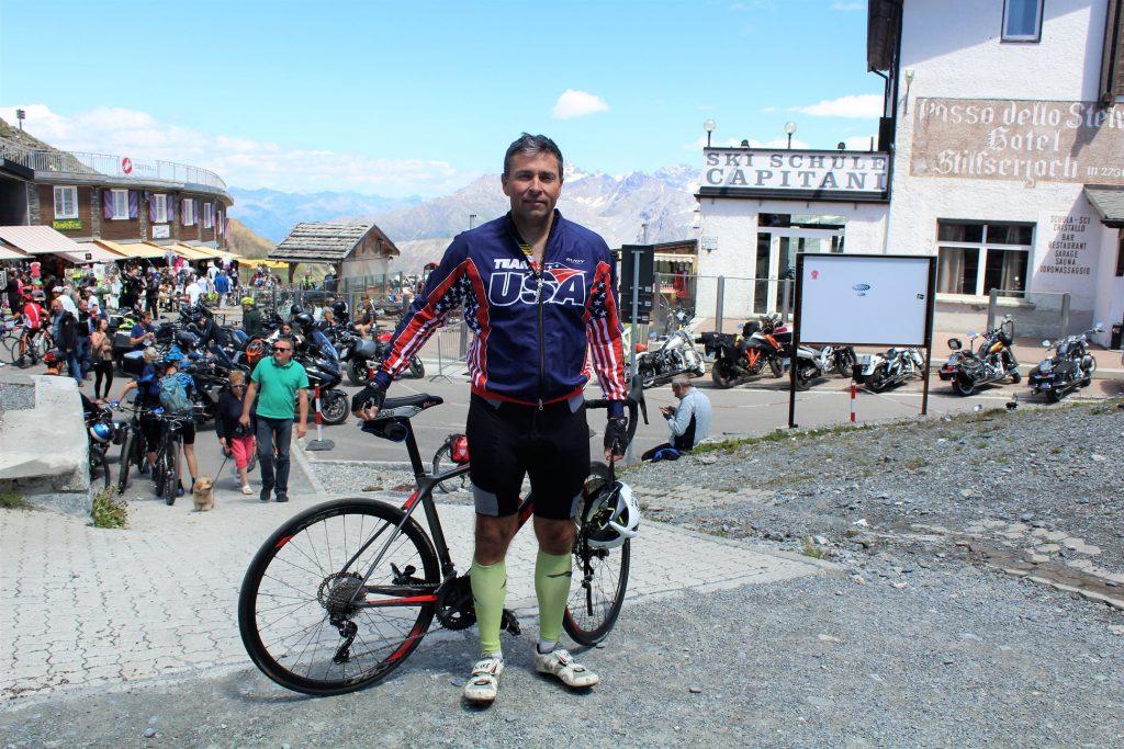 Jeff Gaura at the top of Passo dello Stelvio