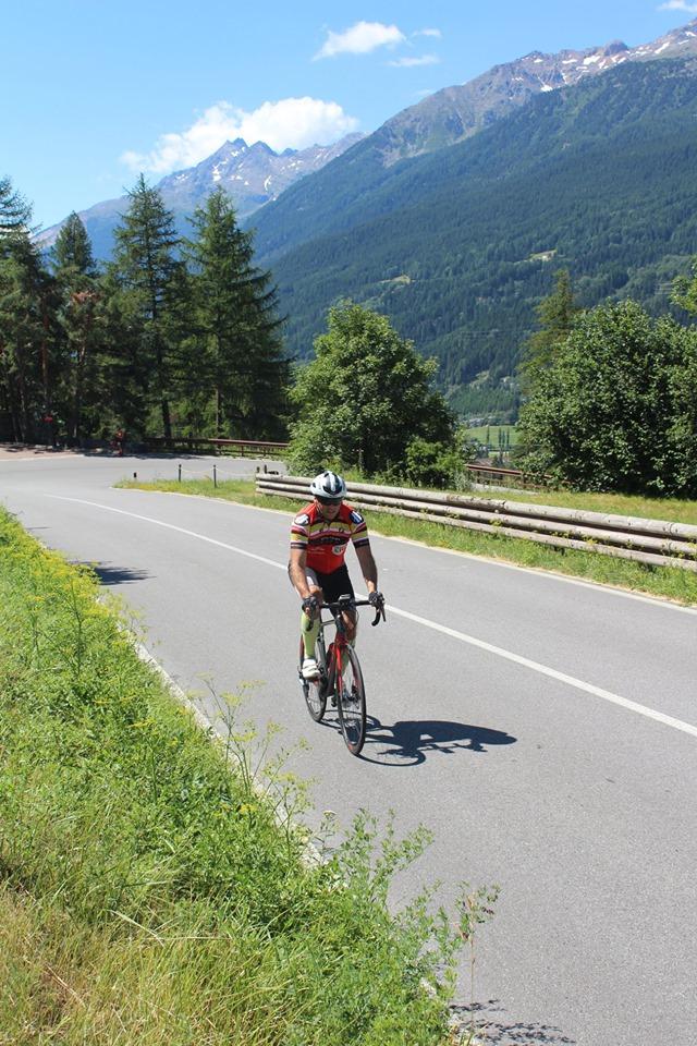 Jeff Gaura climbing up Passo Stelvio