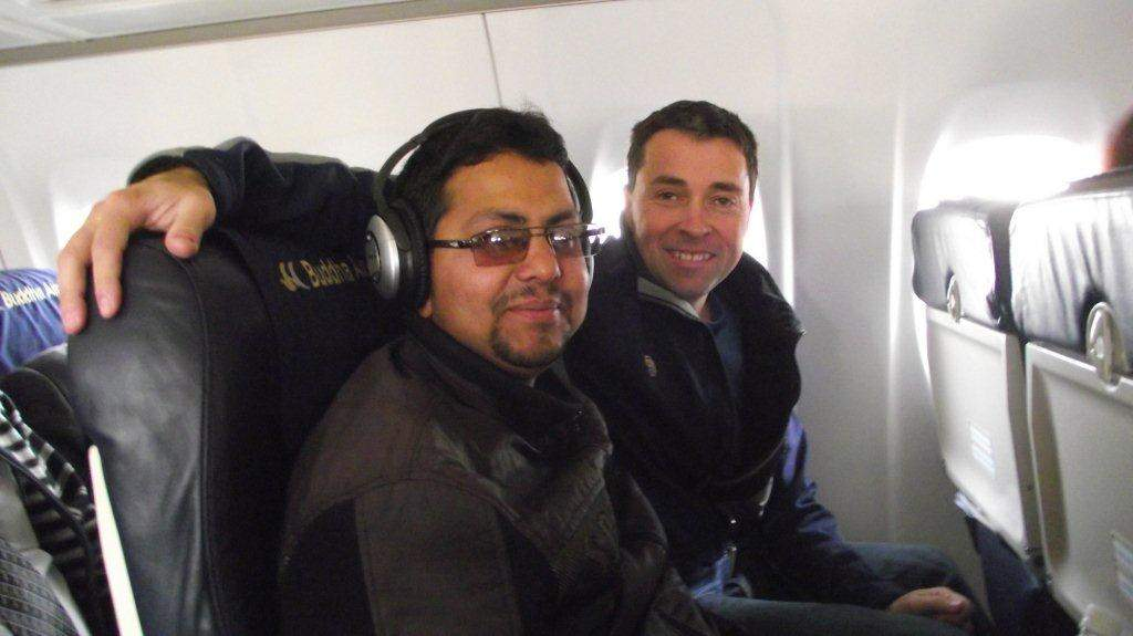 Nav Raj Adhikari on his first plane flight with Jeff Gaura