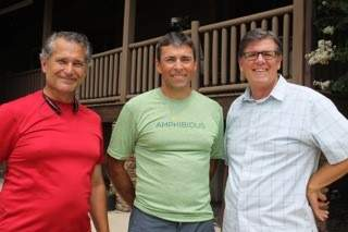 Marty Cocking, Jeff Gaura, and Bruce Petty gathering for a Nepal Project Board of Directors Meeting